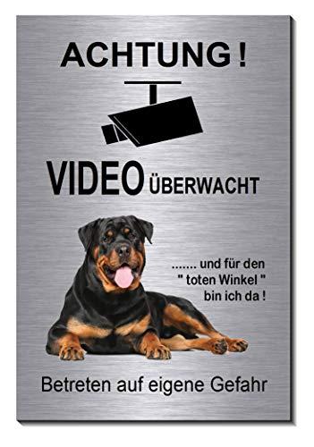 Rottweiler-Video-Überwachung-Hund-15 x 10 cm-Schild-Hundeschild-Aluminium Edelstahloptik-Hunde-Tierschild-Warnschild-Hinweisschild (1905-74 mit Klebepads)