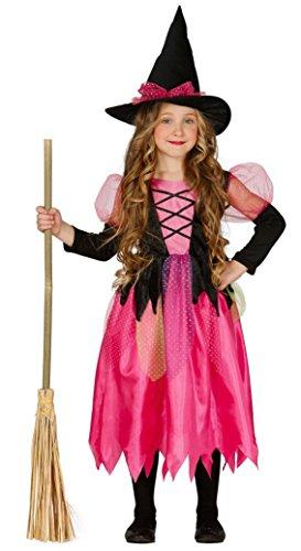 Guirca Hexenkostüm für Mädchen 5/6 Jahre, Farbe Rosa und Schwarz, 110/116 82566