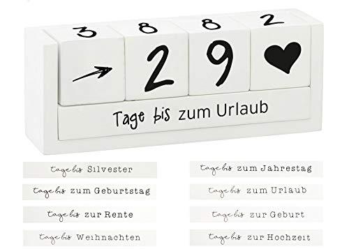 Spetebo Holz Countdown Würfel für 8 Ereignisse - Deko Holzwürfel Würfelkalender Dauerkalender