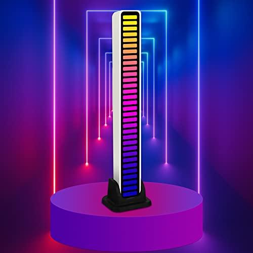Pristar RGB LED luces activadas por voz con nivel de música de 32 bits, vehículos, estudio en casa, decoración de escritorio, espectro musical, luz ambiental, audio, luz de ritmo controlada por sonido
