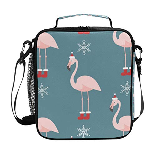 Chic Houses Lindo Flamingo Sombrero de Navidad Copo de Nieve Aislamiento Enfriador Bolsa de Almuerzo Estilo de Dibujos Animados Bolso Bolso Bolsa de Almuerzo Caja para Niños Niñas 203012