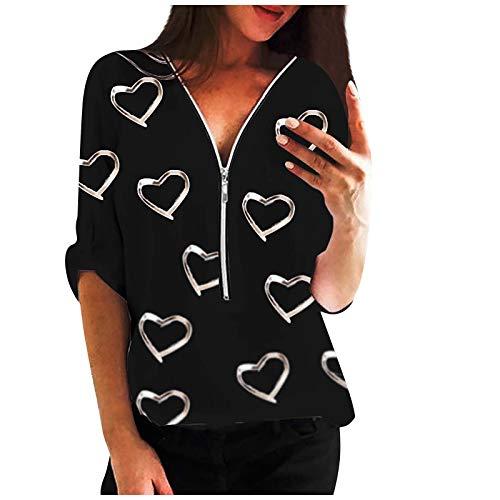 VEMOW Blusas y Camisa Mujer Vaquera Sexy Camisetas de Tops Cremallera Manga Corta Blusas Cuello en V Ropa, Elegantes Moda Corazón Impreso Camisa Suelta Tops Jerseys Casual Blusas Sudadera(A Negro,M)