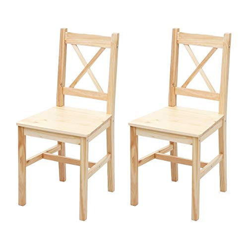 Mendler 2X Esszimmerstuhl HWC-F77, Lehnstuhl Küchenstuhl Stuhl, Massiv-Holz Landhaus ~ Kiefer lasiert