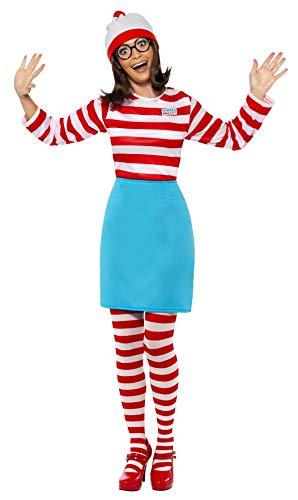 Smiffys Licenciado oficialmente Où est Charlie ? Costume Wenda, Rouge et blanc, avec haut, jupe, lunettes, colla
