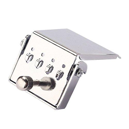 Healifty 4 String Tailpiece Bridge Plate para piezas de repuesto de Banjo Guitar DIY to Improved Tone (Silver)