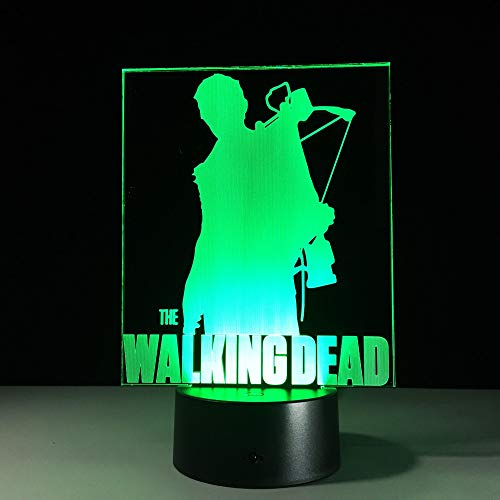 Classic TV Drama Terror The Walking Dead Character 3D Optical Illusion LED Lamp Hologram USB Night Light Best Gift