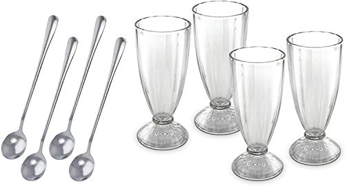 KOVOT Set Of 4 Old Fashioned Soda Glasses And Spoons - (4) 13-Ounce Classic Ice Cream Soda Glasses & (4) Metal Spoons