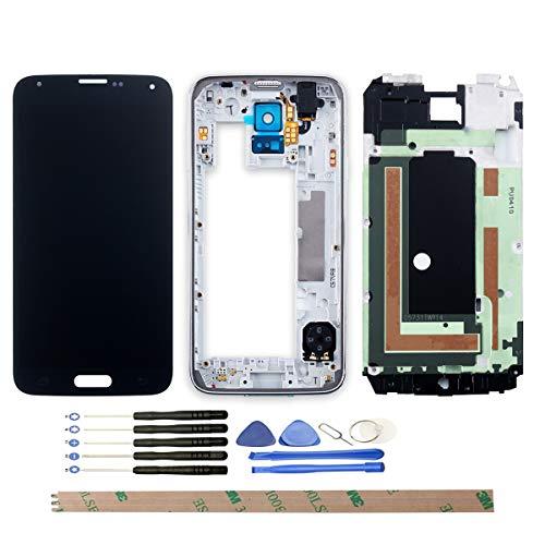 YHX-OU Für Samsung Galaxy S5 I9600 SM-G900 G900F LCD- LCD Display Touchscreen Ersatz Bildschirm mit Komplett Werkzeug (Nicht für G900H) (Schwarz+ Rahmen 03EB)