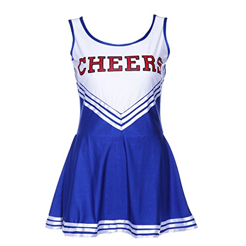 SODIAL(R) Debardeur Robe Bleu Deguisement Cheer Leader Pom Pom Girl Fille Fete XS 28-30 Ans Foot Ecole