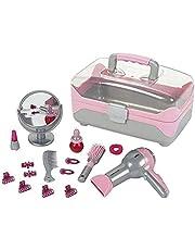 Theo Klein 5862 Bruin kapperskoffer, met op batterijen werkende haardroger, talrijke kappers- en styling-accessoires, afmetingen: 27,5 cm x 16,5 cm x 16 cm, speelgoed voor kinderen vanaf drie jaar