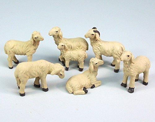 Unbekannt Schafe Set 6 Teile, aus Polyresin für Krippenfiguren 7-9 cm. Bis 3,7 cm hoch.