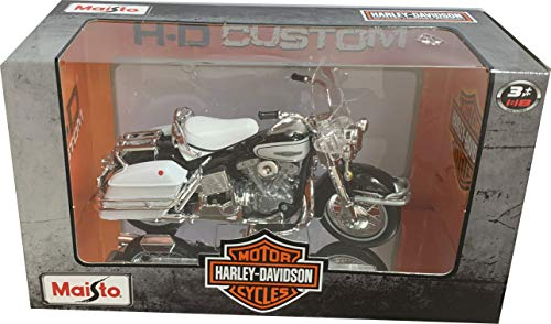 Harley Davidson FLH Electra Glide, schwarz/weiss, 1966, Modellauto, Fertigmodell, Maisto 1:18