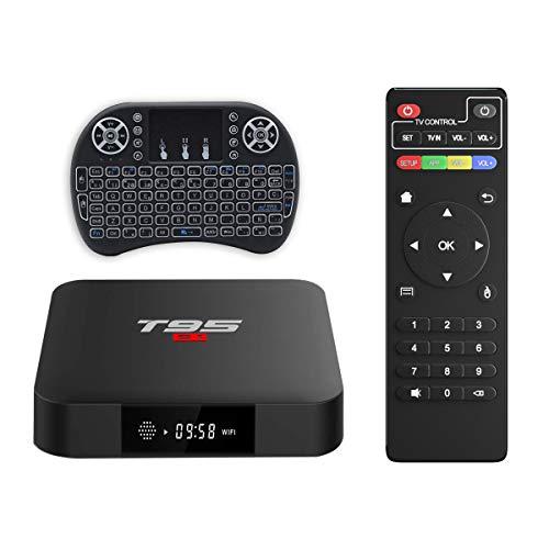 Android TV Box, T95 S1 TV Box 2GB RAM/16GB ROM Android 7.1 Amlogic S905W Quad Core Soporte 2.4GHz WiFi H.265 4K HDMI DLNA Reproductor Multimedia con Mini Teclado Inalámbrico