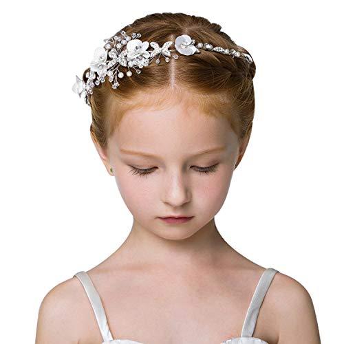 ROBERT Hochzeit Kopfschmuck Blumen,Hochzeit Haarschmuck für Mädchen und Blumenmädchen(Weiß)