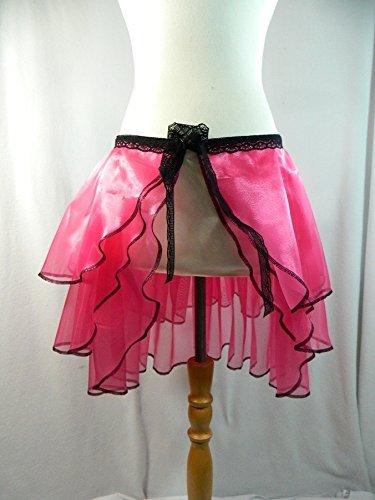 Bustle Skirt pink Wickelrock Vokuhila Gothic Steampunk Burlesque Karneval Schleppe Tournüre