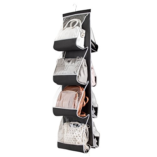 "ZOBER Hanging Purse Organizer for Closet Clear Handbag Organizer for Purses, Handbags Etc. 8 Easy Access Clear Vinyl Pockets with 360 Degree Swivel Hook, Black, 48"" L x 13.8"" W"