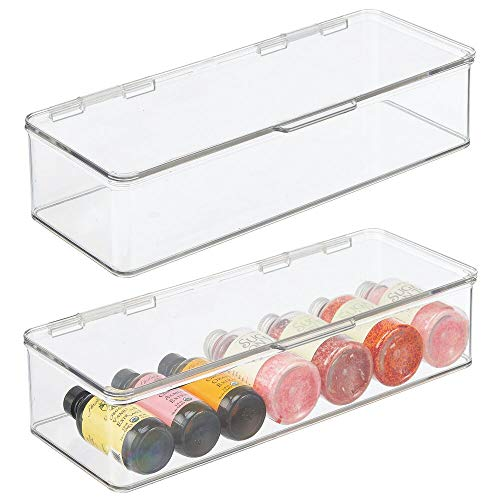 mDesign Stackable Box Kitchen Pantry Cabinet/Refrigerator Food Storage Container Box, Attached Lid - Organizer for Packets, Snacks, Produce, Pasta - 2 Pack - Clear