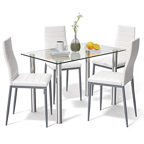 Tangkula 5 PCS Dining Table Set Modern Tempered Glass Top and PVC Leather Chair w/4 Chairs Dining...