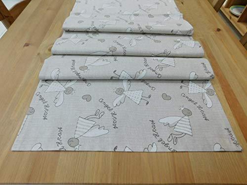 Weihnachtsläufer auf dem Tisch, Tischdecke, 130x40 cm, Gedeck, natürlich, zart, Engelmuster, Original, Geschenk