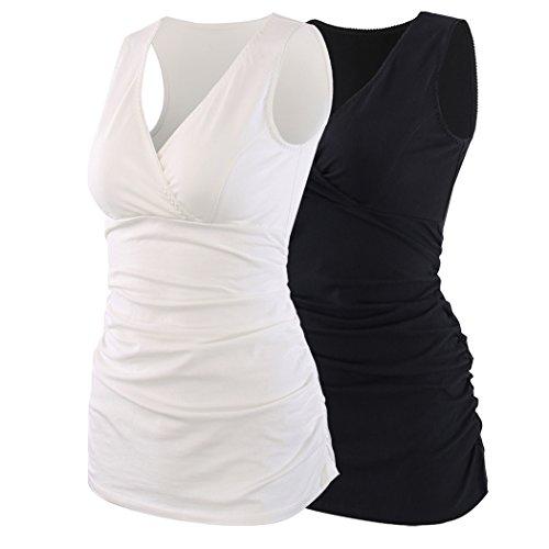 ZUMIY Still-Shirt/Umstandstop, Schwangeres Stillen Nursing Schwangerschaft Top Umstandsmode Unterwäsche (L, Black+White/2-pk)