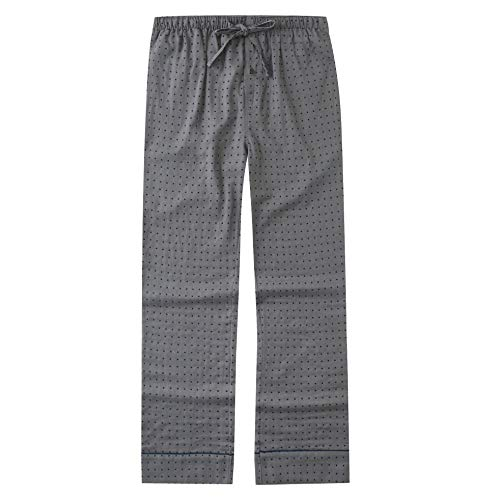 Mens Pajama Pants, Cotton Double Layer Mens Lounge Pants - Squares-Gray - M