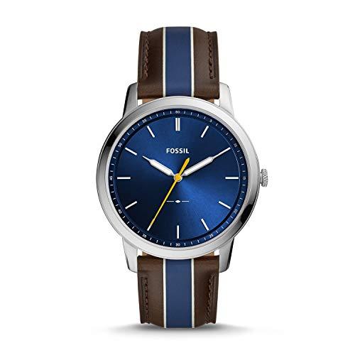 Fossil Herren Analog Quarz Uhr mit Leder Armband FS5554