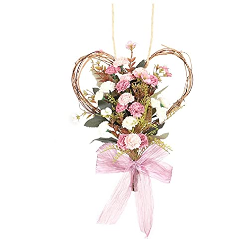 DierCosy Tools Artificial Flower Heart Wreath Simulation Carnation Garland Wall Hanging for Decoration Pink,Indoor And Outdoor Decoration