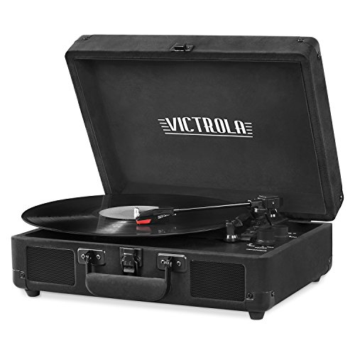 Victrola Vintage 3-Speed Bluetooth Portable Suitcase Record Player with Built-in Speakers | Upgraded Turntable Audio Sound| Includes Extra Stylus | Black Velvet (VSC-550BT-BKV)
