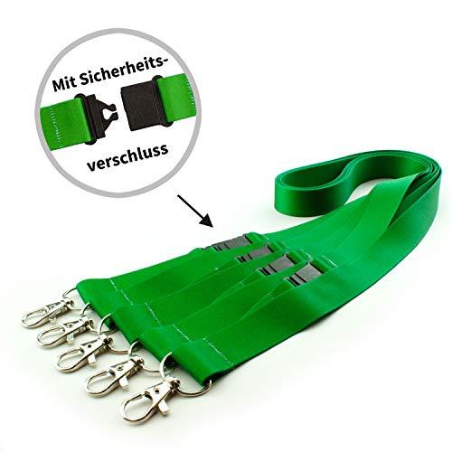Lanyards/Umhängebänder bedruckt, VE 5 Stück Motiv Grün Breite 20 mm mit Sicherheitsverschluss