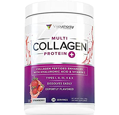 Multi Collagen Peptides Plus Hyaluronic Acid and Vitamin C, Hydrolyzed Collagen Protein, Types I, II, III, V and X Collagen, Strawberry Flavor