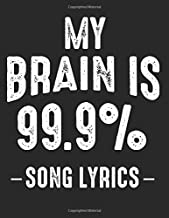 My Brain: is 99% Song Lyrics Funny Musican Quotes Notes Best Music Lover Quote Gift Ideas Composition Music Sheet Notebook / 120 Pages Blank Paper / 8.5