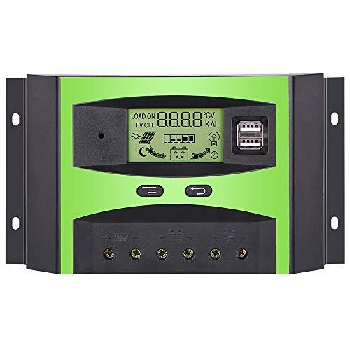 GIARIDE 30A 12V 24V Solarregler Solarladeregler Solarpanel Regler PWM Intelligente Regler SolarLaderegler Mit USB für 12V Batterie