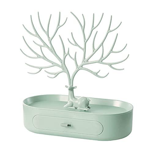 JTKJ Soporte de exhibición de la joyería bandeja del árbol estantes de almacenamiento de ciervos pendientes collar anillo joyería organizador titular maquillaje decoración verde