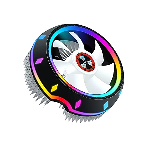 Qalabka Enfriador de CPU Todo en,Enfriador de Aire de CPU Todo en Diseño de UFO Iluminación de 5 Colores Configuración de Empuje Intel/AMD Enchufe Universal con cojinete de Fluido Plat