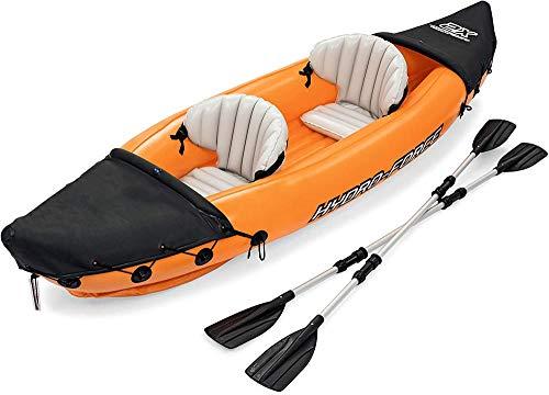 N/Z Kit Kayak Hinchable Kayak Hinchable Hydro- Kit Kayak Hinchable, Kayak de Mar 2 Personas, Piragua Hinchable, Canoa Inflable, Incl. 1 Remo Doble, Bomba de Pie, 321 * 88CM