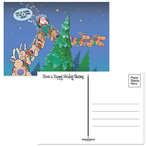 Long Night Funny Christmas Postcards - 50 Holiday Fun Postcards - 4 x 6 Inch Postcards (Long Night)
