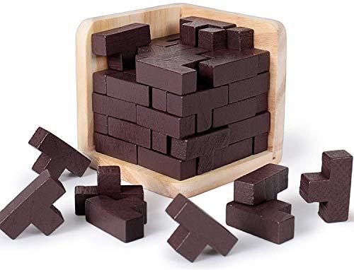 Rolimate Tetris 3D Rompecabezas de Madera Brain Teaser - 54 Bloques en Forma de T Tetris - Rompecabezas Geométrico Juguete Educativo para Niños y Rompecabezas Mágico Explorar la Creatividad