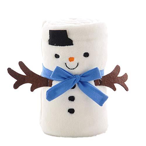 PKA - Manta de franela para bebé, diseño navideño, color blanco