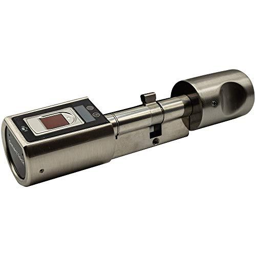SOREX FLEX Fingerprint Türschloss für Fernöffnung mit deutschem Support! - Zylinder längenverstellbar, schnelle einfache Montage, elektron. Türschloss, Edelstahl gebürstet - Standardvariante