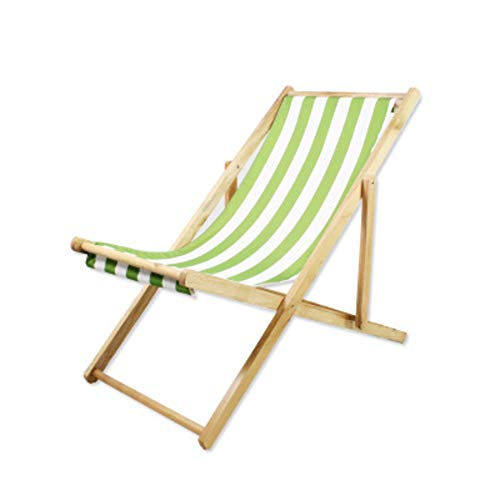 Lovehouse Wood Beach Chair, Foldable Sling Chair Adjustable heigh,Portable Beach Lounge Chair,Stripe Waterproof Canvas,Supports 220 lbs-Green