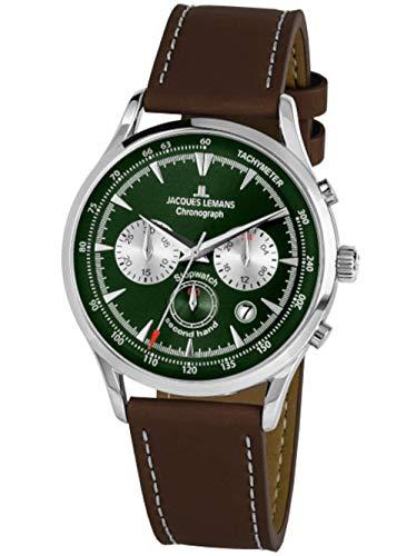 Jacques Lemans Herren-Uhren Analog Quarz One Size Grün 32016516
