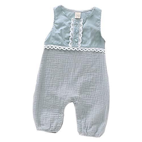LEXUPE Neugeborenes Baby Mädchen Jungen Leinen Feste Spitze Strampler Overall Kleidung Outfits(Blau,80)