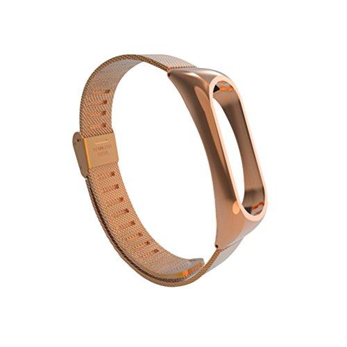 UKCOCO Cinturino in Metallo con Cinturino in Acciaio Inossidabile per Orologio Xiaomi Mi Band 2 (Oro Rosa)