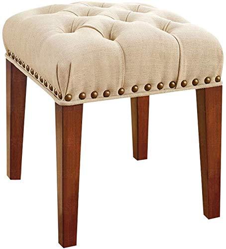 WTT Europese eenvoudige linnen stof ademende slaapkamer gevoerde dressing tafel kruk stoel dressoir gevoerde kruk bruin massief hout schoen bank bank stoel voetbank make-up