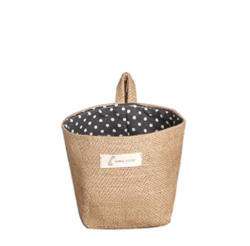 Petit sac de rangement en tissu Zycshang, 14 x 12,5 cm, non tissé, à pois : Panier de rangement respirant et souple à suspendre