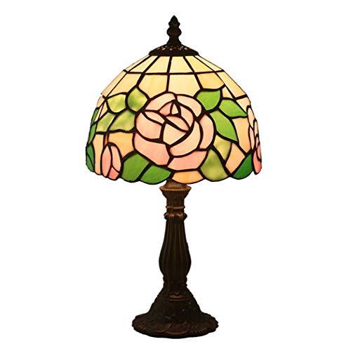 ZPZ-Iluminación Lámpara de mesa pequeña estilo Tiffany de 8 pulgadas, dormitorio retro Lámparas de noche, decoración de vidrieras, luz de noche para niños, E27, MAX40W Nivel de energía [A ++]