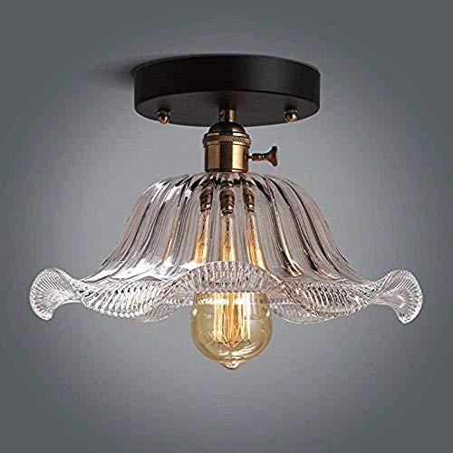 Lámpara de techo de montaje en descarga Transparente Lámpara de vidrio Entrada Lámpara de techo Lámparas de techo Americano En Flowed Flowed Metal Drop Light Aisle Escalera Hall Colgante Lámpara E27 E