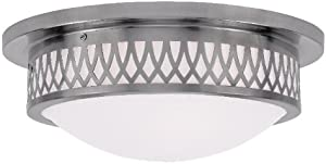 Semi Flush Mounts 3 Light with Hand Blown Satin White Glass Brushed Nickel Size 15 in 180 Watts - World of Crystal