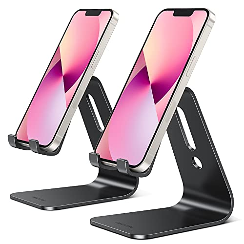 [2 Pack] OMOTON Cell Phone Stand, Upgraded Aluminum Cell Phone Holder Phone Cradle with Protective Pads for iPhone 11 Pro Max, 11 XR XS 8 Plus SE , iPad Mini and Android Phones (Black + Black)