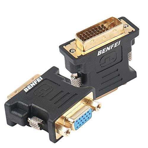Benfei DVI-I auf VGA-Adapter, 2 Stück, DVI 24 + 5 auf VGA-Stecker auf Buchse, Adapter mit vergoldetem Kabel